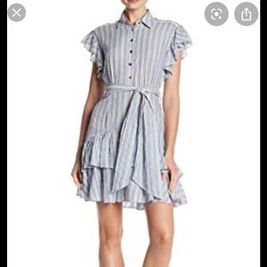 Rebecca Taylor striped tiered ruffle dress